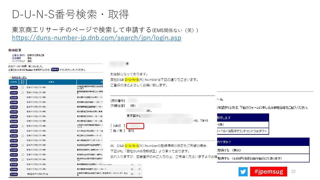 #jpemsug D-U-N-S番号検索・取得 32 東京商工リサーチのページで検索して申請す...