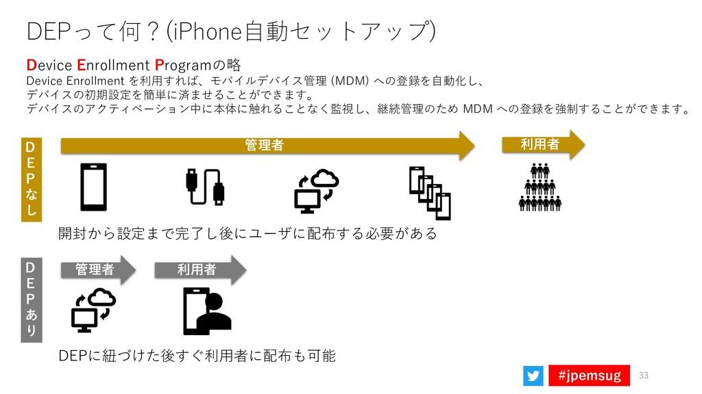 #jpemsug DEPって何?(iPhone自動セットアップ) Device Enrollm...