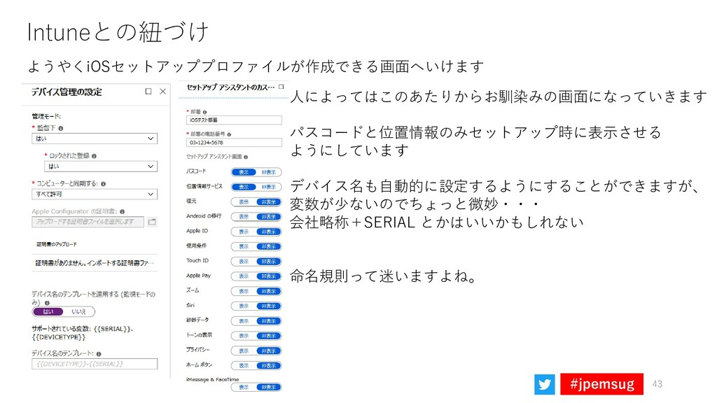 #jpemsug Intuneとの紐づけ 43 ようやくiOSセットアッププロファイルが作成で...
