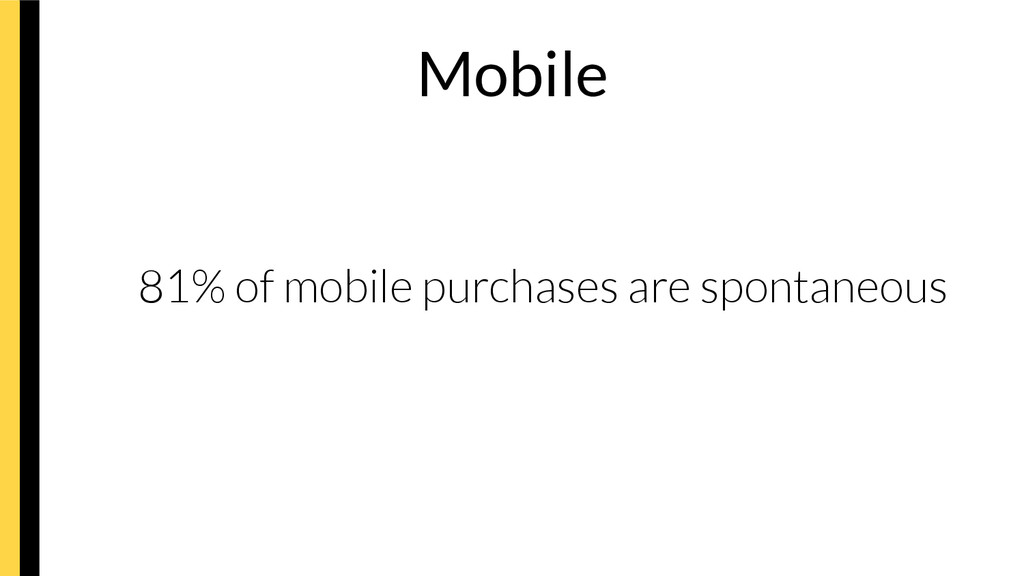 Mobile   81% of mobile purchases are spontan...