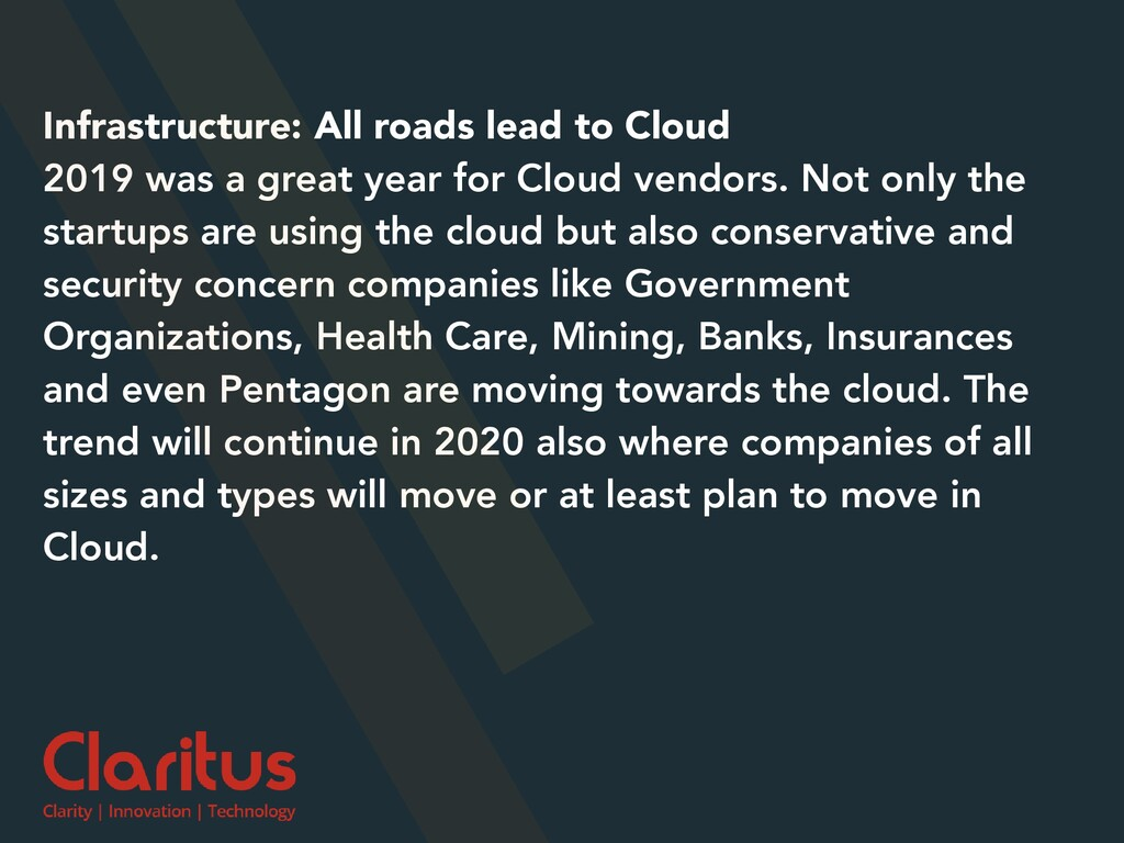 Infrastructure: All roads lead to Cloud 2019 wa...