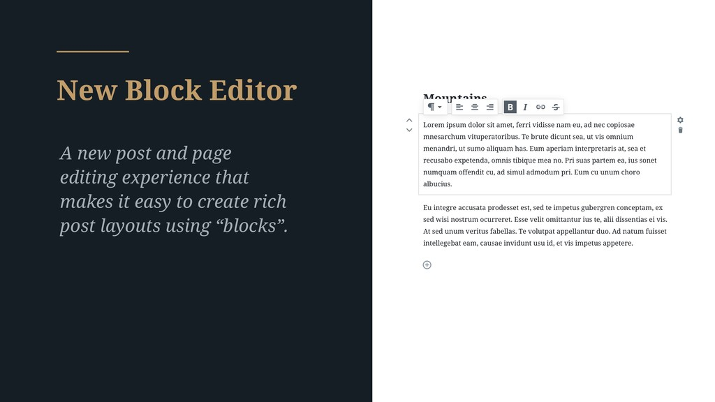 New Block Editor A new post and page editing ex...