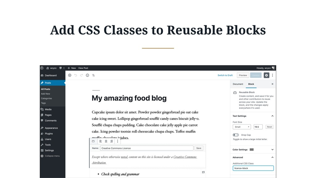 Add CSS Classes to Reusable Blocks