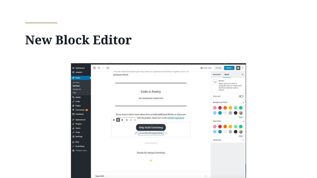 New Block Editor