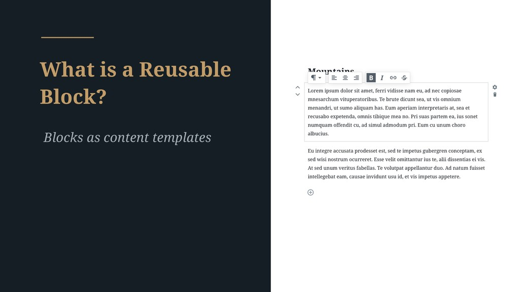 What is a Reusable Block? Blocks as content tem...