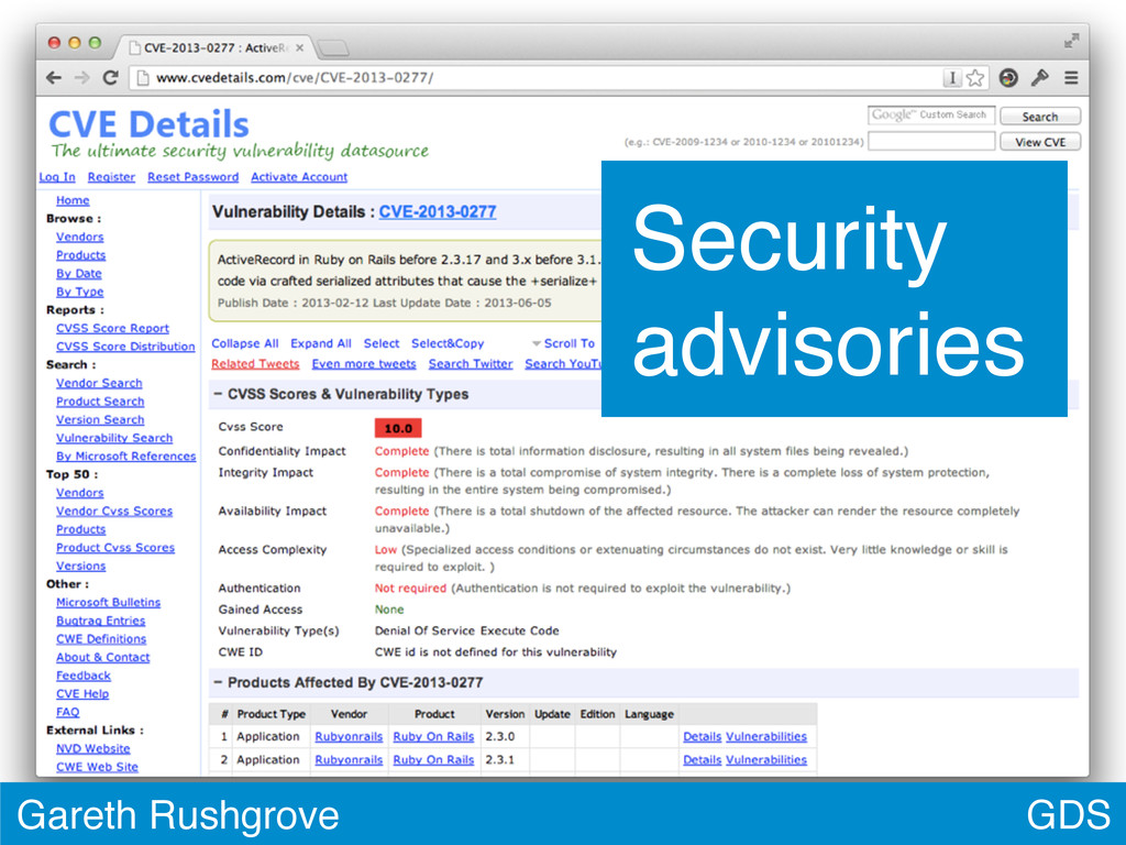 GDS Gareth Rushgrove Security advisories
