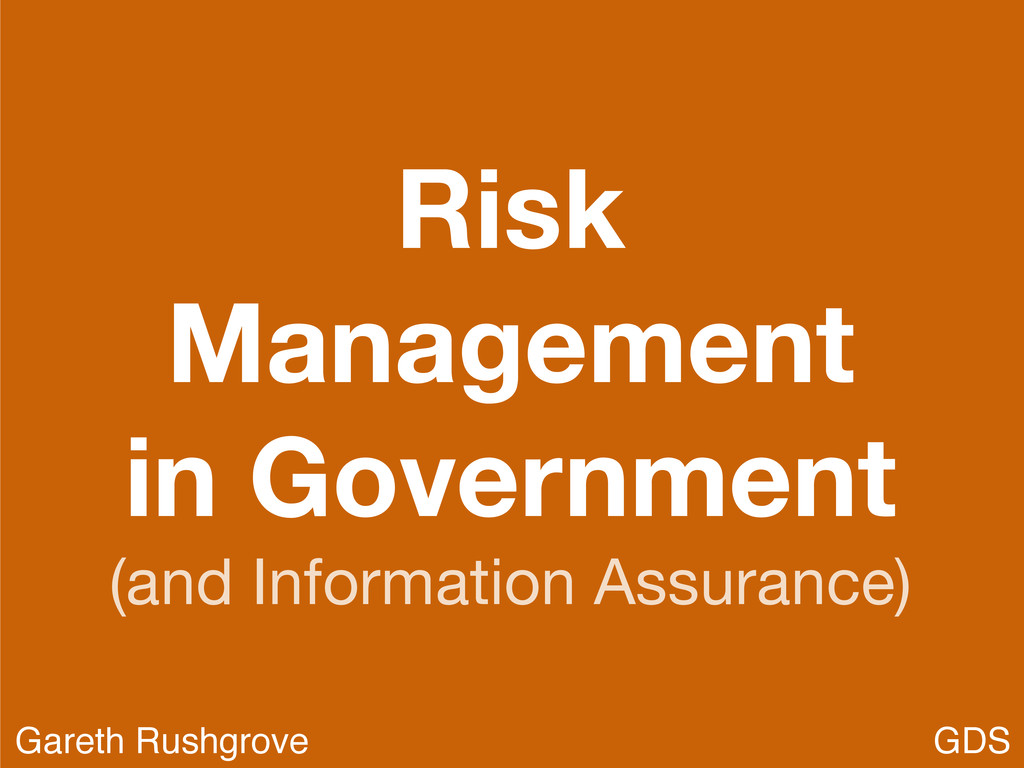 Risk Management in Government (and Information ...