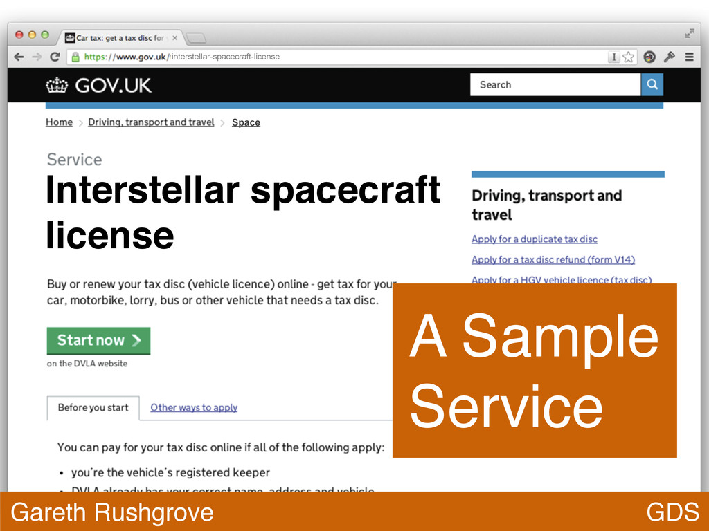 GDS Gareth Rushgrove A Sample Service Interstel...