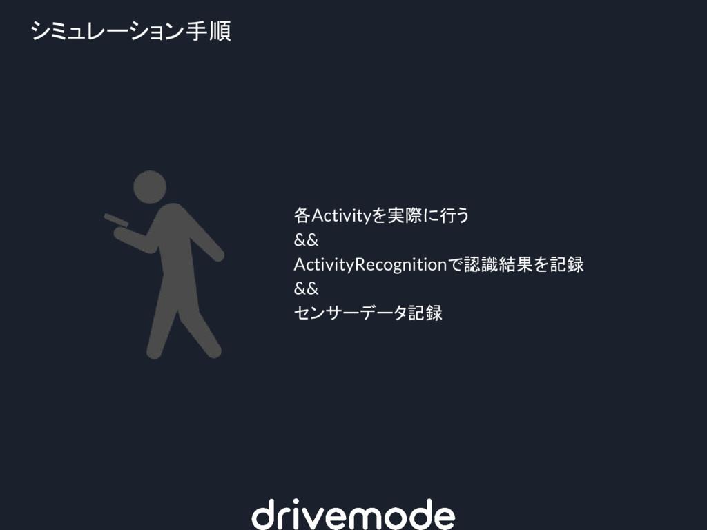 シミュレーション手順 各Activityを実際に行う && ActivityRecogniti...