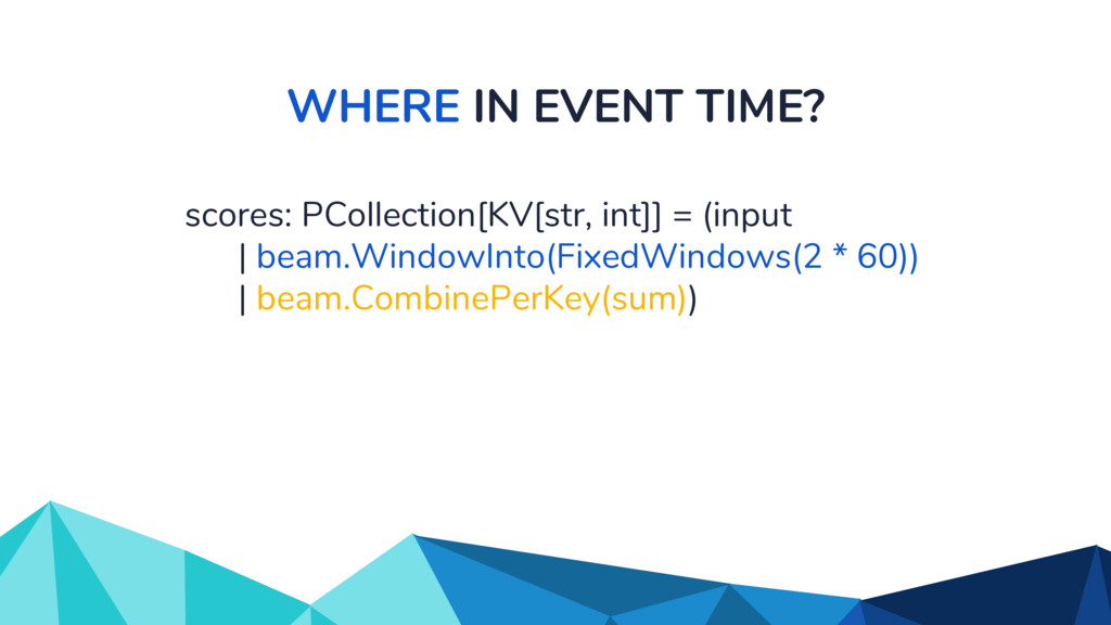 WHERE IN EVENT TIME? scores: PCollection[KV[str...