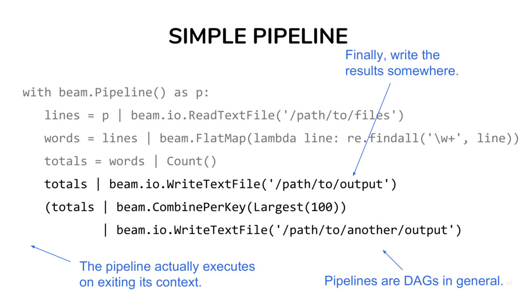 44 SIMPLE PIPELINE with beam.Pipeline() as p: l...
