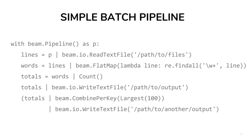 45 SIMPLE BATCH PIPELINE with beam.Pipeline() a...
