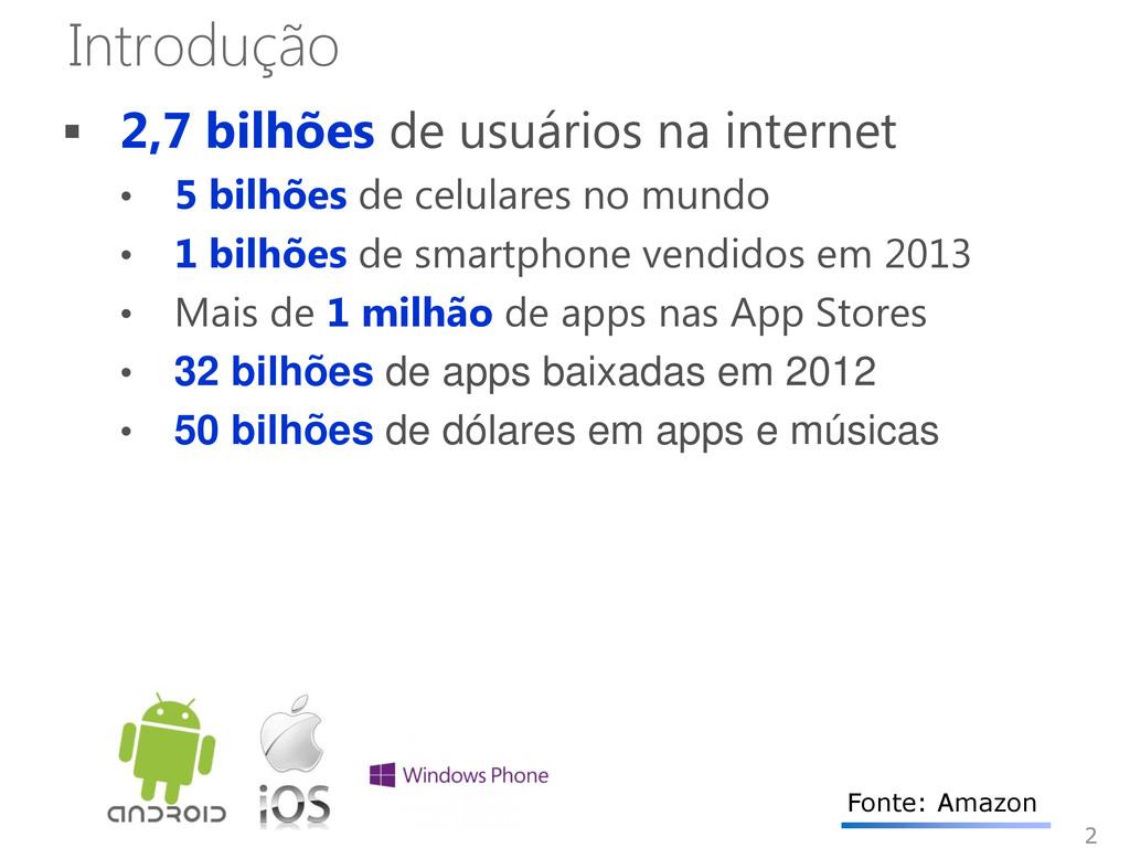 Introdução  2,7 bilhões de usuários na interne...