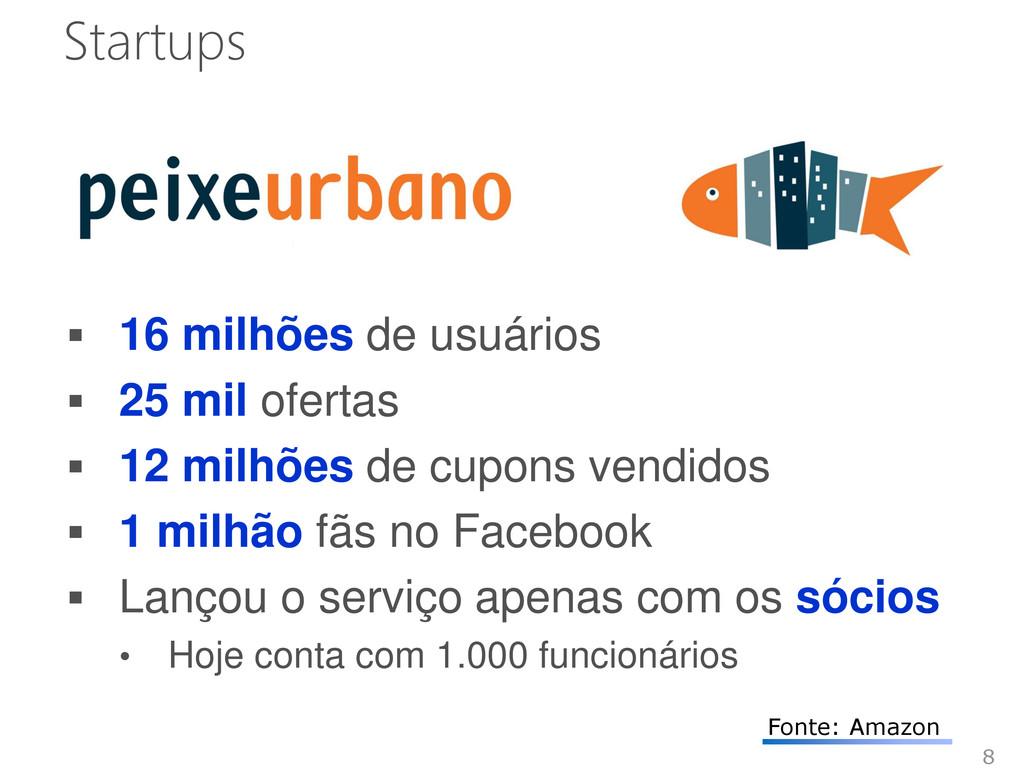 Startups  16 milhões de usuários  25 mil ofer...