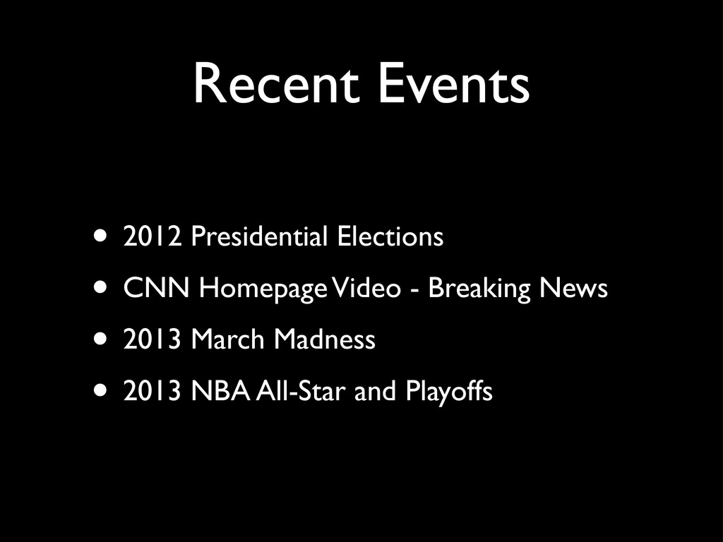 Recent Events • 2012 Presidential Elections • C...