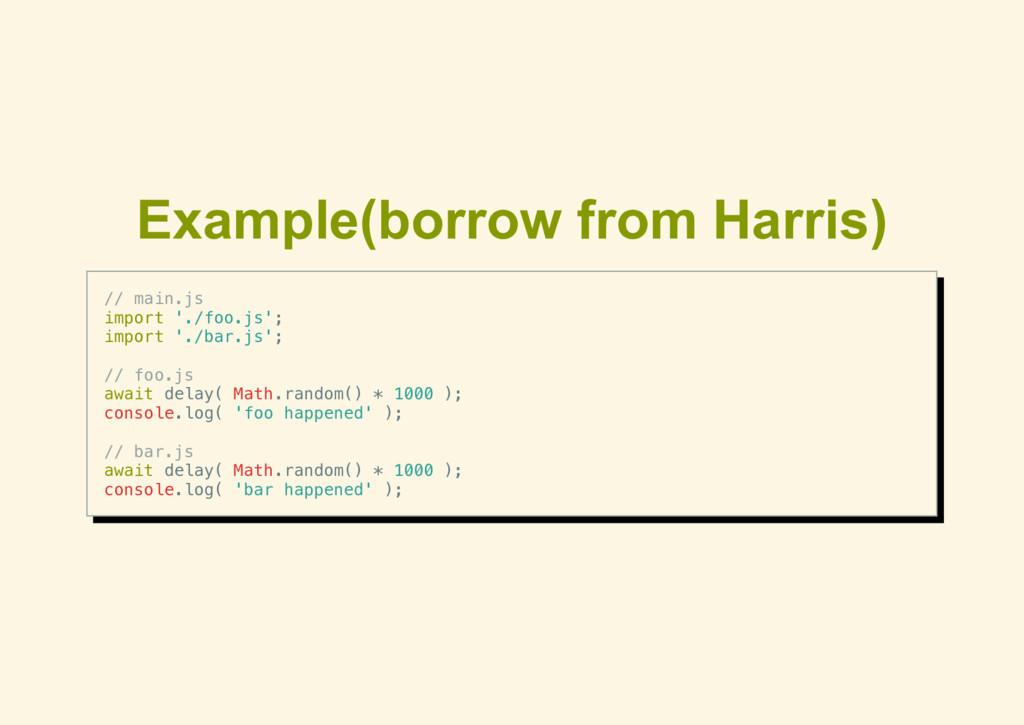 Example(borrow from Harris) // main.js import '...