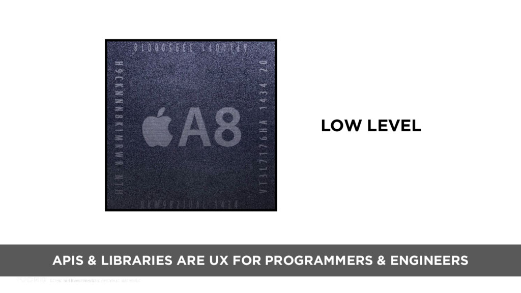 LOW LEVEL APIS & LIBRARIES ARE UX FOR PROGRAMME...