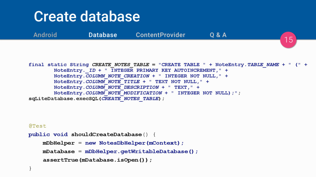 Create database final static String CREATE_NOTE...
