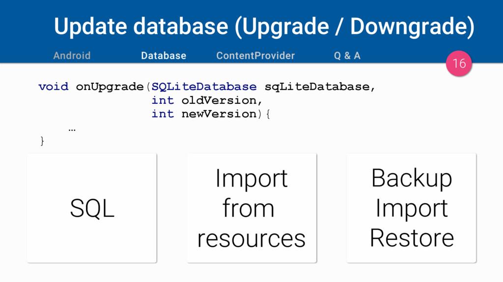 Update database (Upgrade / Downgrade) void onUp...
