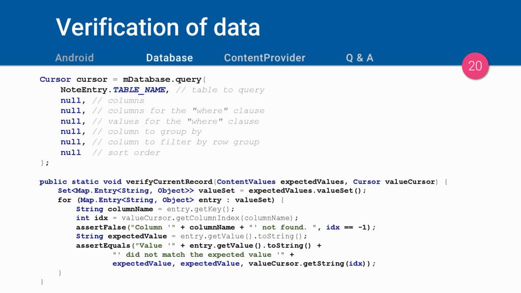 Verification of data Cursor cursor = mDatabase....