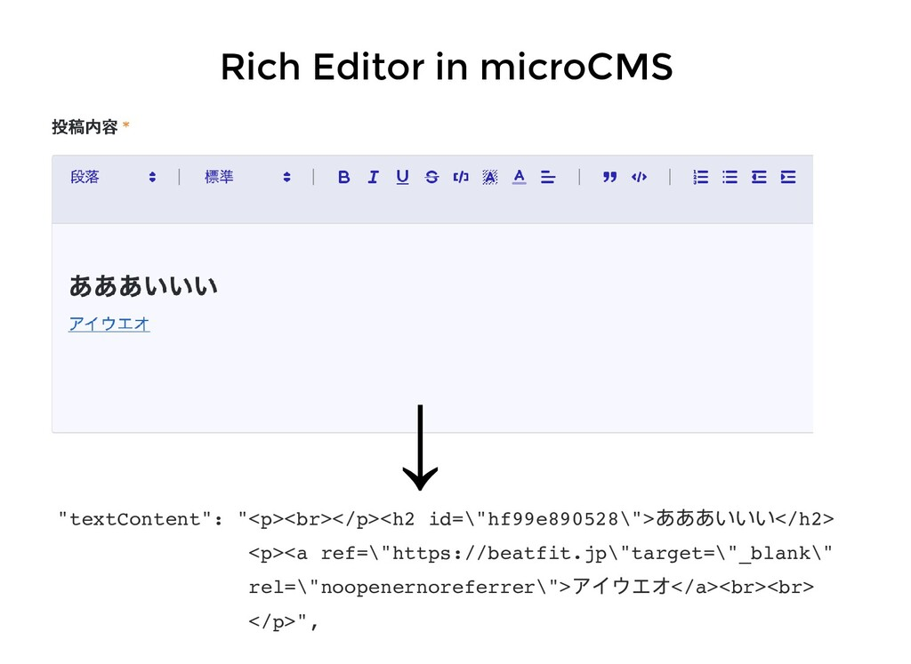 """Rich Editor in microCMS """"textContent"""": """"<p><br>..."""