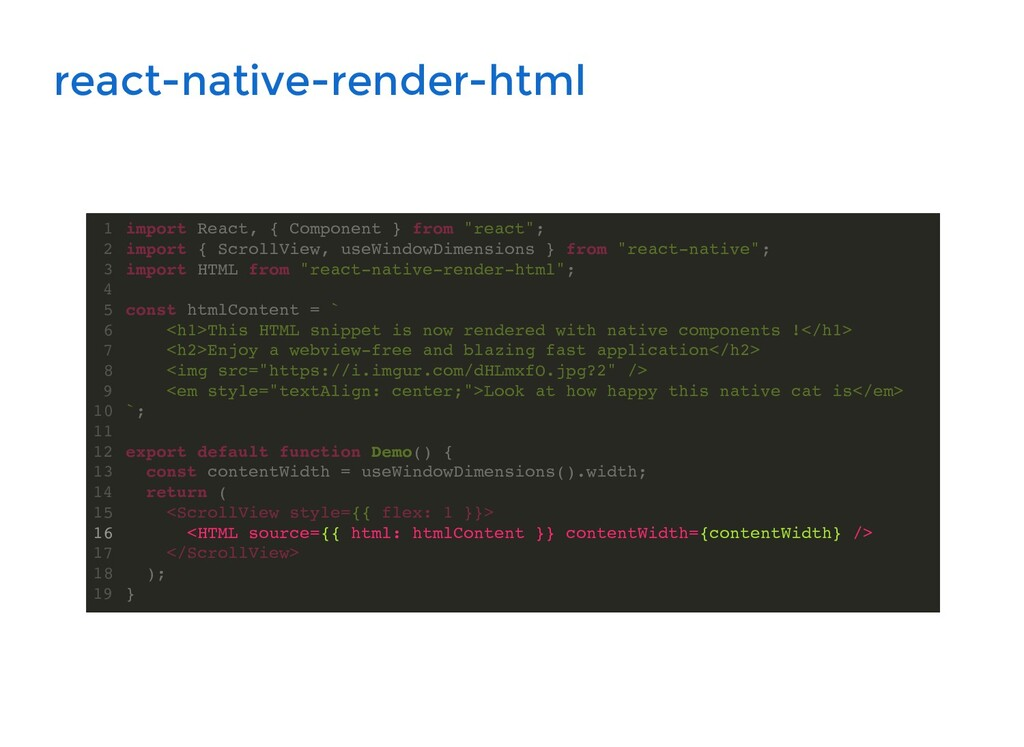 react-native-render-html import React, { Compon...