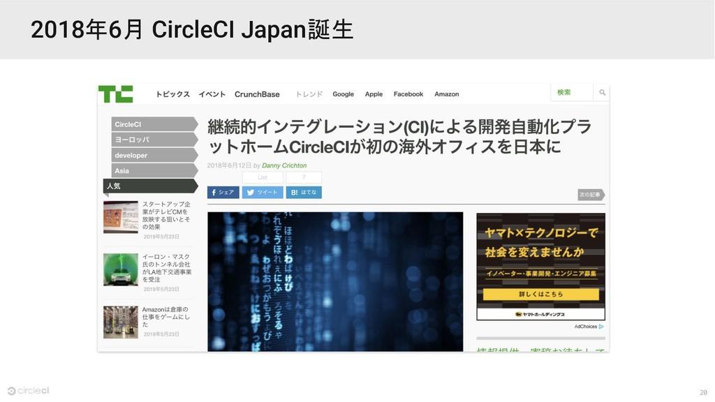 20 2018年6月 CircleCI Japan誕生