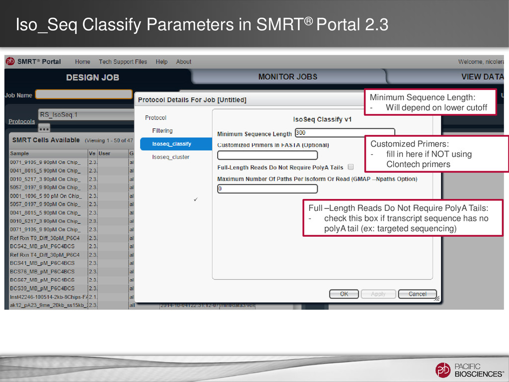 Iso_Seq Classify Parameters in SMRT® Portal 2.3...