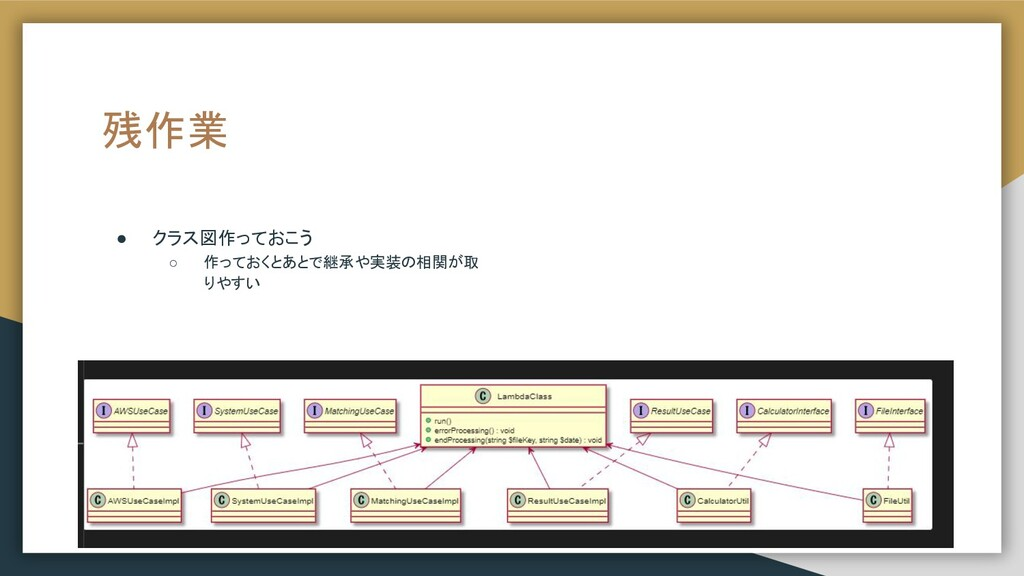 残作業 ● クラス図作っておこう ○ 作っておくとあとで継承や実装の相関が取 りやすい