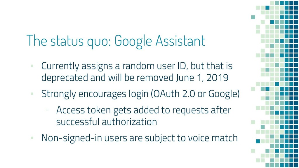 The status quo: Google Assistant ▪ Currently as...