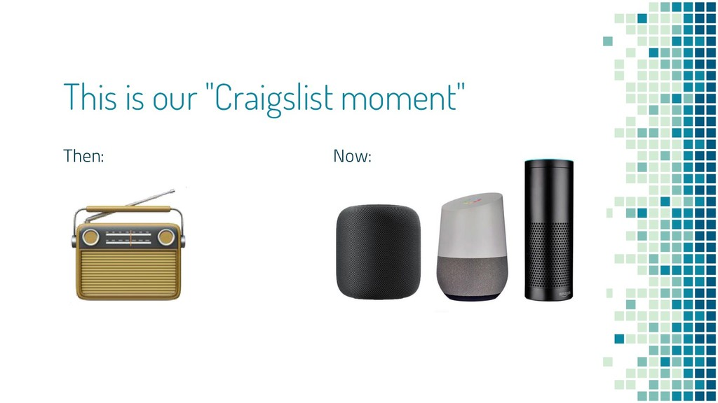 "This is our ""Craigslist moment"" Then: Now:"