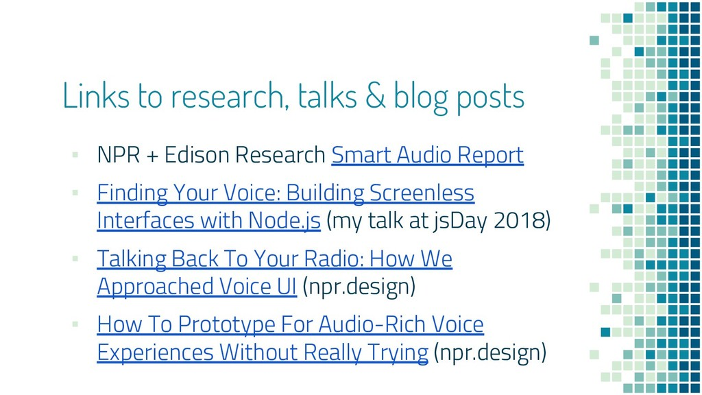 Links to research, talks & blog posts ▪ NPR + E...