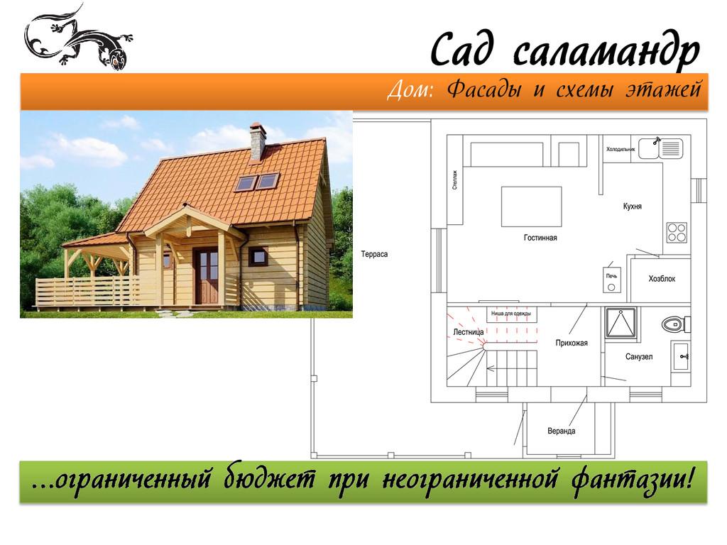 Сад саламандр Дом: Фасады и схемы этажей …огран...