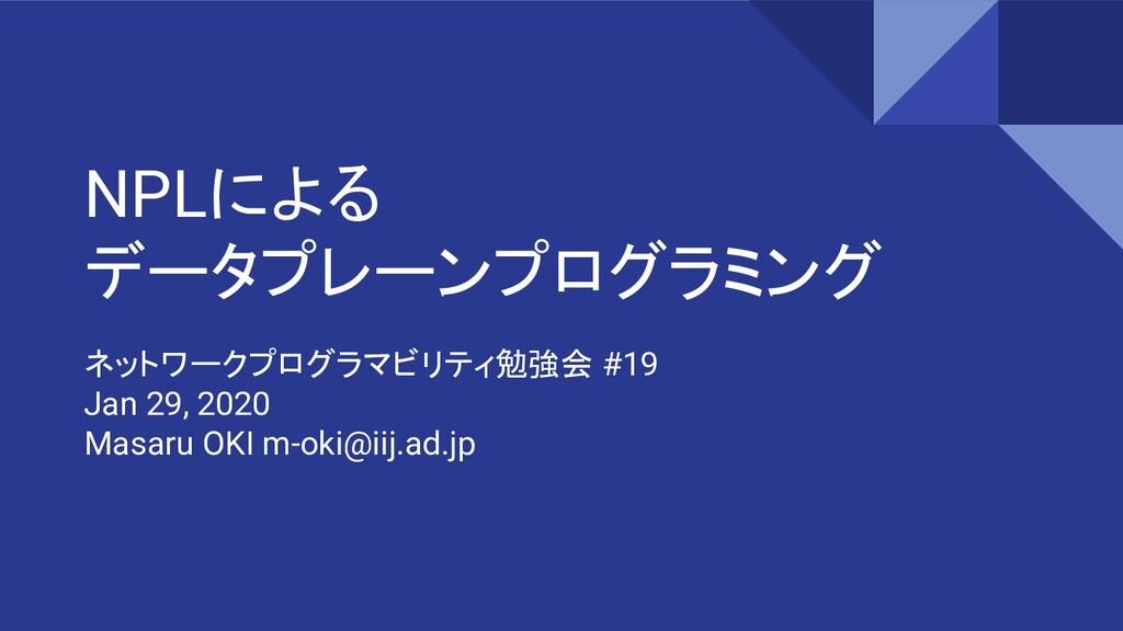 NPLによる データプレーンプログラミング ネットワークプログラマビリティ勉強会 #19 Ja...