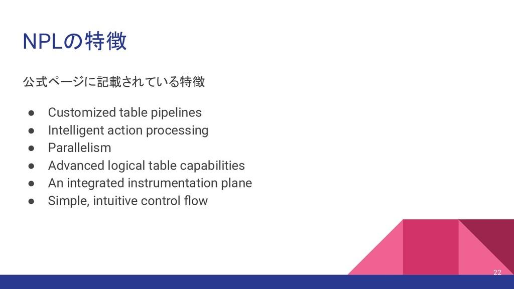 NPLの特徴 公式ページに記載されている特徴 ● Customized table pipel...