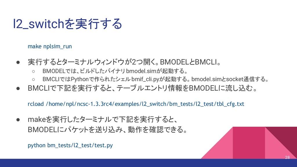 l2_switchを実行する make nplsim_run ● 実行するとターミナルウィンド...