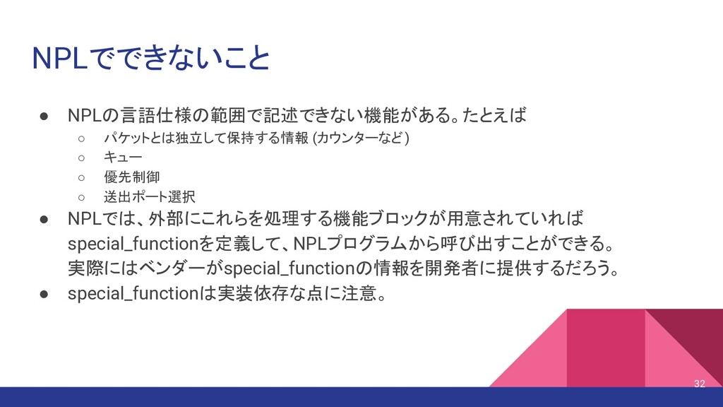 NPLでできないこと ● NPLの言語仕様の範囲で記述できない機能がある。たとえば ○ パケッ...