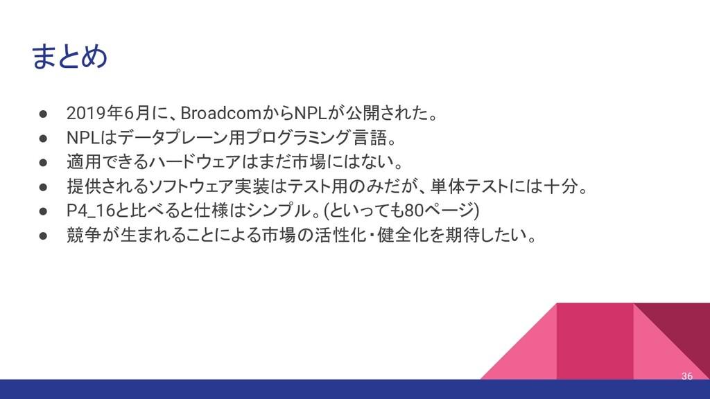 まとめ ● 2019年6月に、BroadcomからNPLが公開された。 ● NPLはデータプレ...
