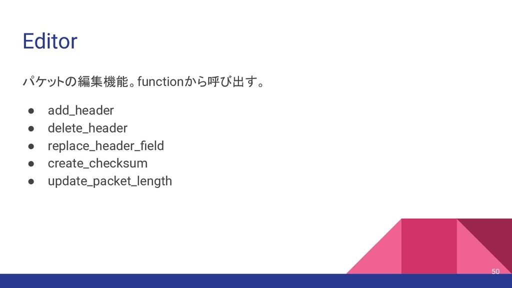 Editor パケットの編集機能。functionから呼び出す。 ● add_header ●...