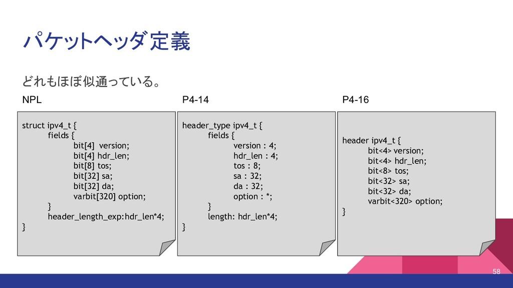 パケットヘッダ定義 どれもほぼ似通っている。 struct ipv4_t { fields {...