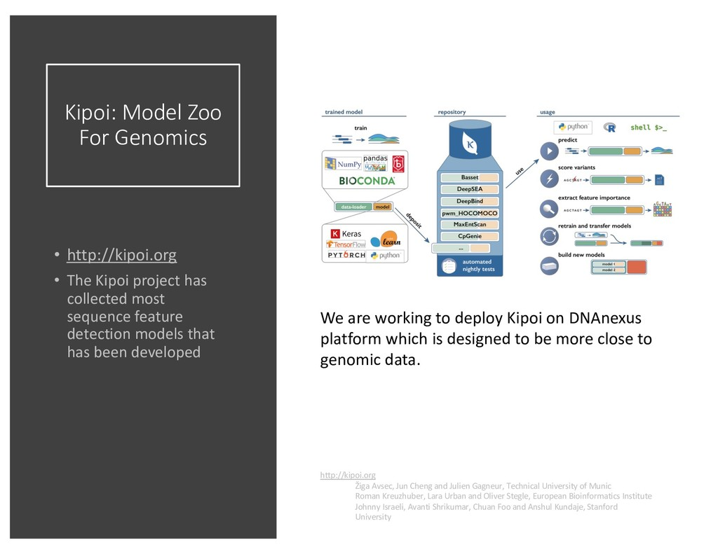 Kipoi: Model Zoo For Genomics • http://kipoi.or...