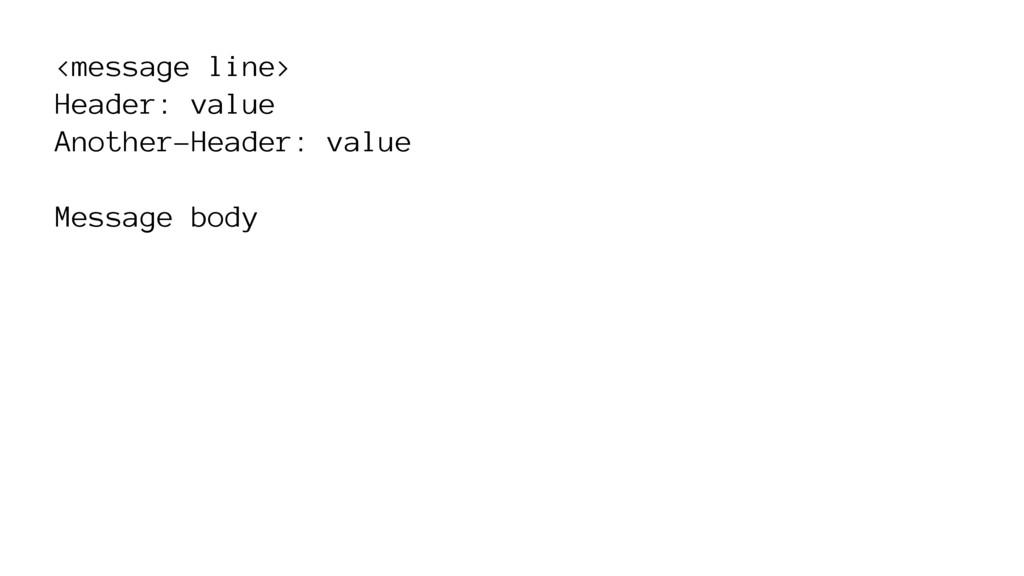 <message line> Header: value Another-Header: va...