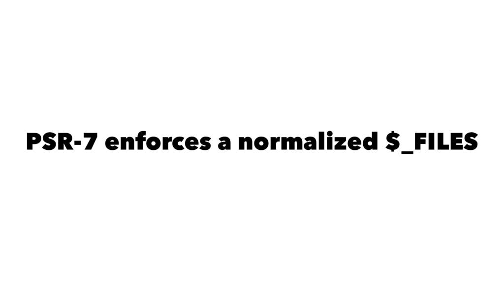 PSR-7 enforces a normalized $_FILES