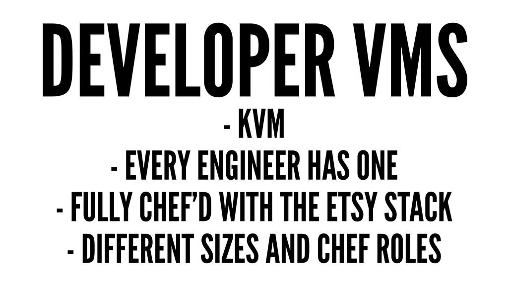 DEVELOPER VMS - KVM - EVERY ENGINEER HAS ONE - ...