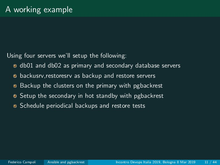 A working example Using four servers we'll setu...