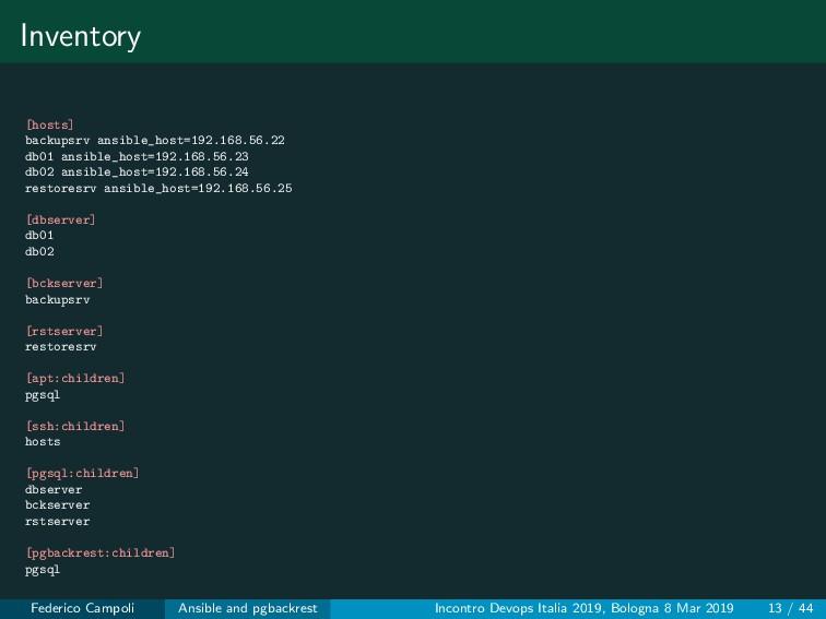 Inventory [hosts] backupsrv ansible_host=192.16...