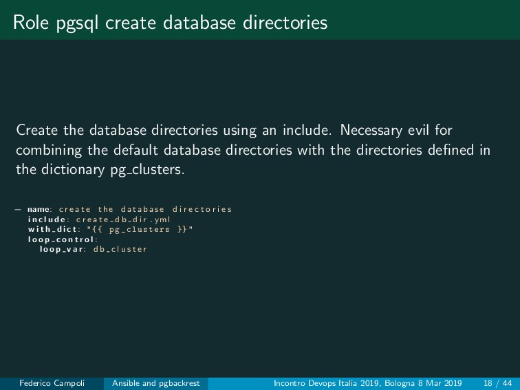 Role pgsql create database directories Create t...