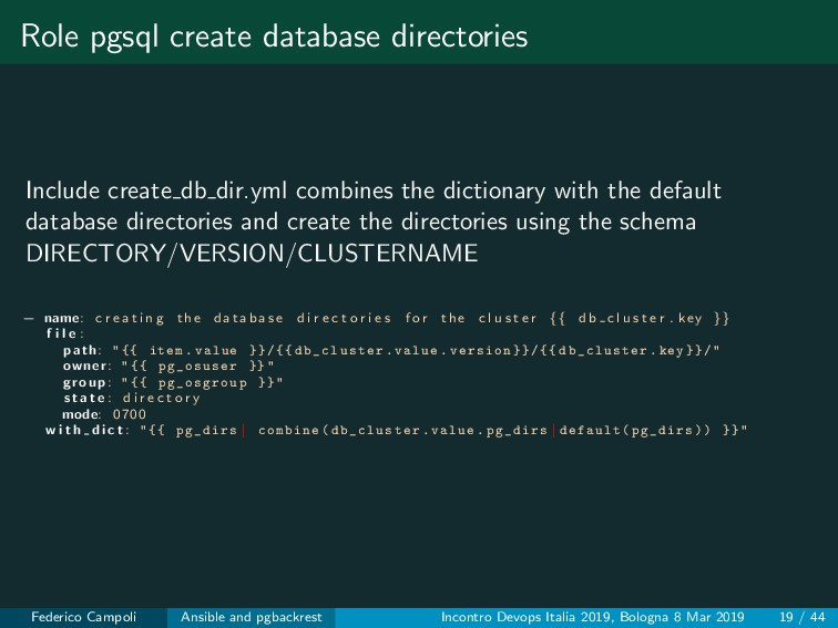 Role pgsql create database directories Include ...
