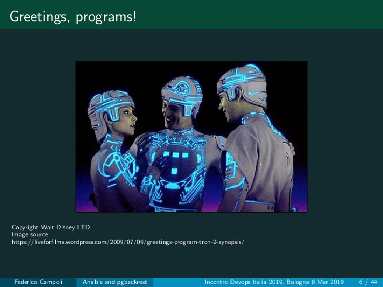 Greetings, programs! Copyright Walt Disney LTD ...