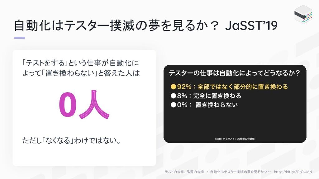 自動化はテスター撲滅の夢を見るか? JaSST'19 「テストをする」という仕事が自動化に よ...